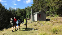 2019 04 06 arriving at kiwi saddle hut